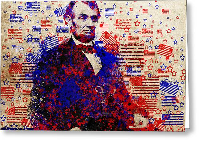 abraham lincoln with flags Greeting Card by MB Art factory