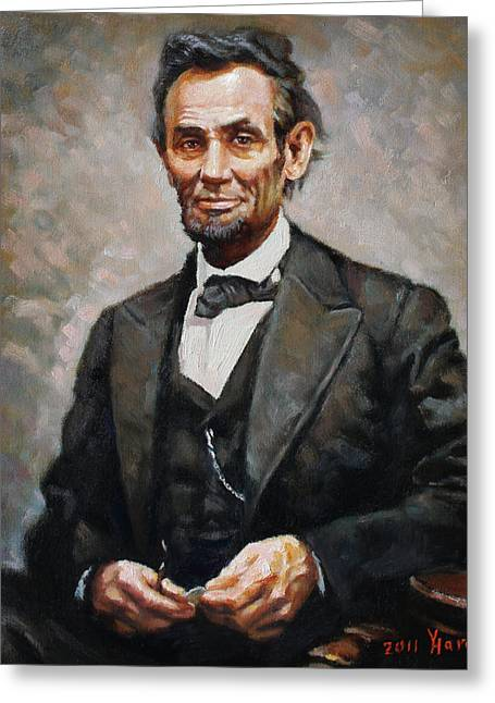 Politicians Paintings Greeting Cards - Abraham Lincoln Greeting Card by Ylli Haruni