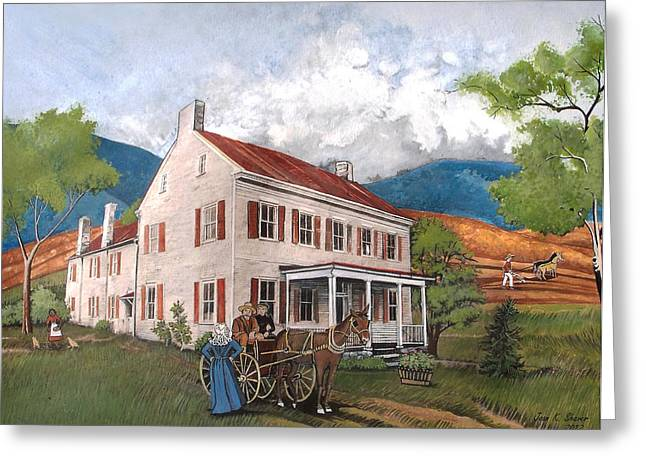 Genealogy Paintings Greeting Cards - Abraham Lincolns Ancesteral Home Greeting Card by Joan Shaver