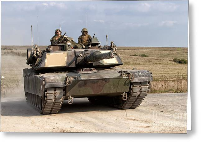 Tank Battalions Greeting Cards - Abrams Main Battle Tank Greeting Card by Andrew Harker