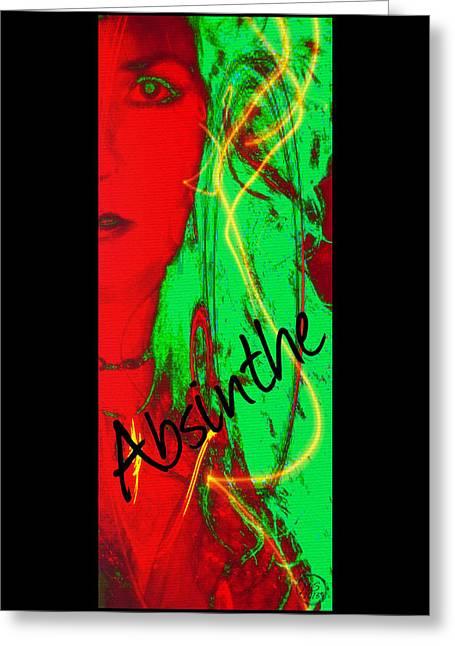 Self-portrait Greeting Cards - Absinthe Greeting Card by Absinthe Art By Michelle LeAnn Scott