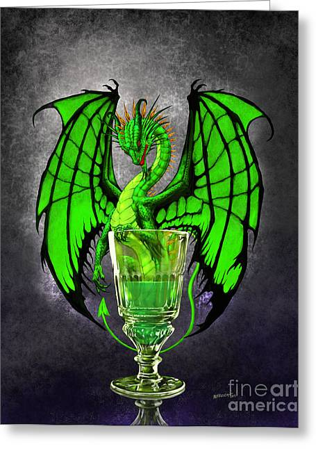 Absinthe Greeting Cards - Absinthe Dragon Greeting Card by Stanley Morrison
