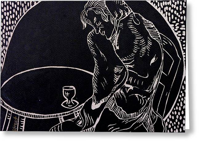 Lino Print Greeting Cards - Absinthe Drinker after Picasso Greeting Card by Caroline Street