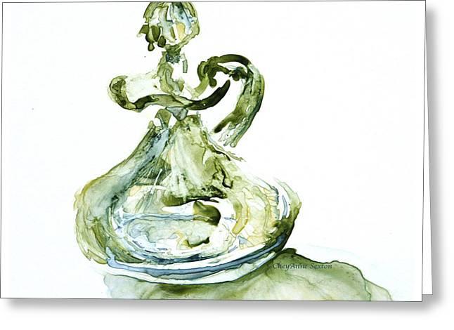 Absinthe Vinegar Cruet Depression Watercolor Greeting Card by CheyAnne Sexton