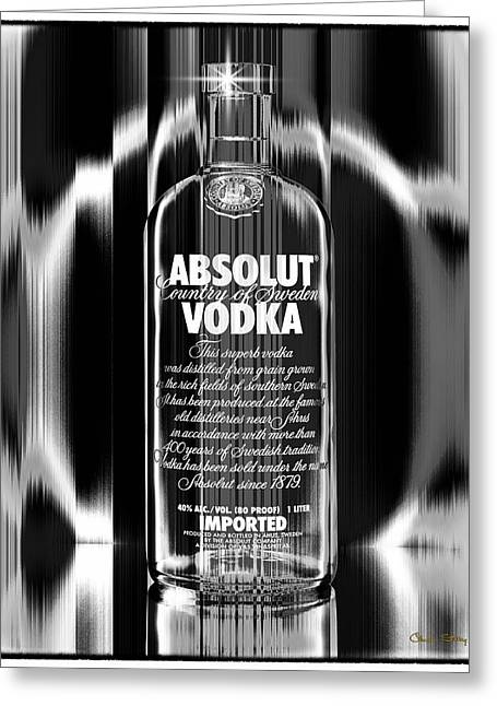 Bottle Cap Greeting Cards - Absolut Black and White Greeting Card by Chuck Staley