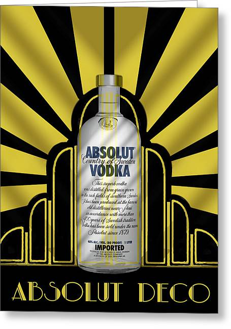 Bottle Cap Greeting Cards - Absolut Deco Greeting Card by Chuck Staley