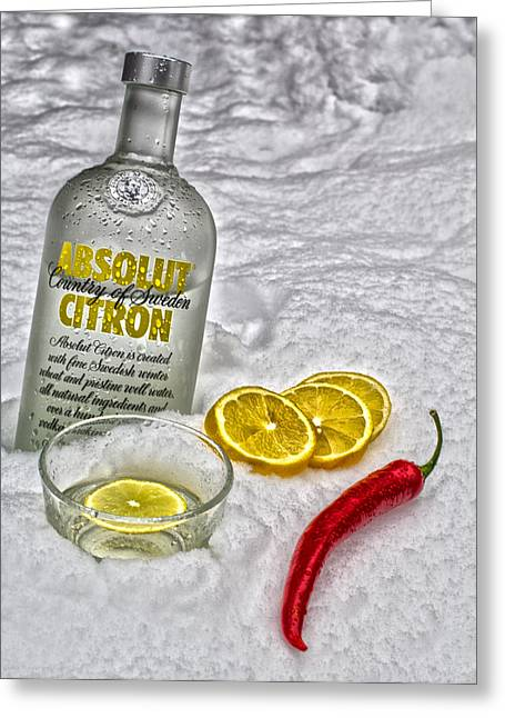 Absolut Greeting Cards - Absolutely ice cold vodka with hot pepper   Greeting Card by Guna  Andersone
