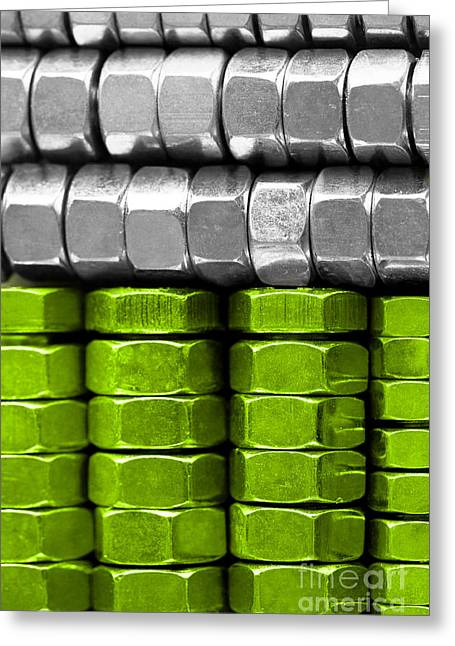 Front Room Digital Art Greeting Cards - Absolutely Nuts Lime Green Wall Art III Greeting Card by Natalie Kinnear