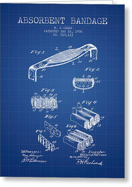 Bandages Greeting Cards - Absorbent Bandage Patent from 1906 - Blueprint Greeting Card by Aged Pixel
