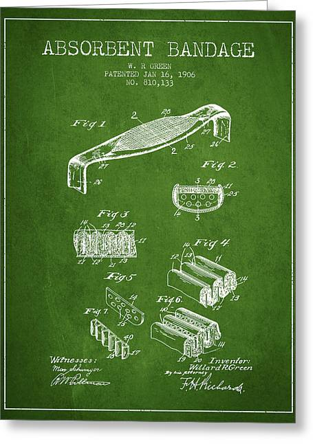 Bandages Greeting Cards - Absorbent Bandage Patent from 1906 - Green Greeting Card by Aged Pixel