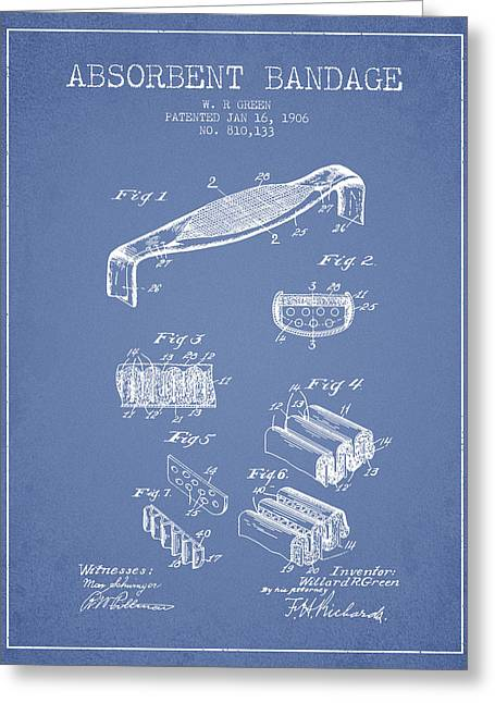Bandages Greeting Cards - Absorbent Bandage Patent from 1906 - Light Blue Greeting Card by Aged Pixel