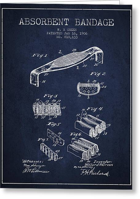 Absorbent Bandage Patent From 1906 - Navy Blue Greeting Card by Aged Pixel