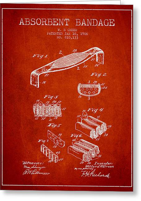 Bandages Greeting Cards - Absorbent Bandage Patent from 1906 - Red Greeting Card by Aged Pixel