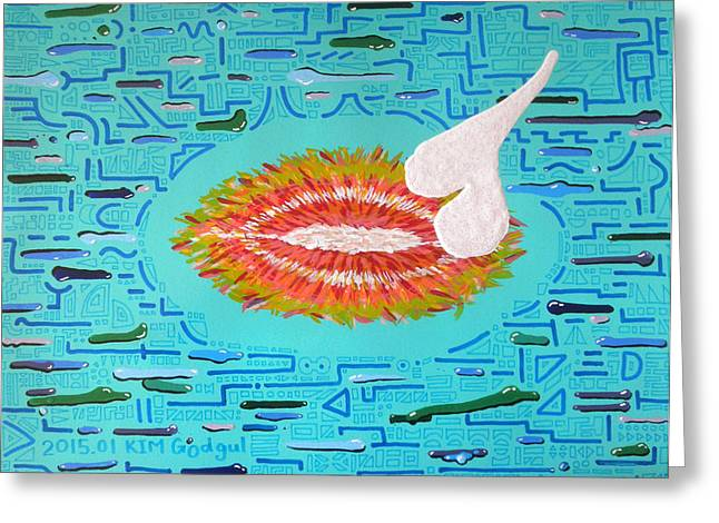 Absorb Paintings Greeting Cards - Absorbing White Greeting Card by Kim Godgul
