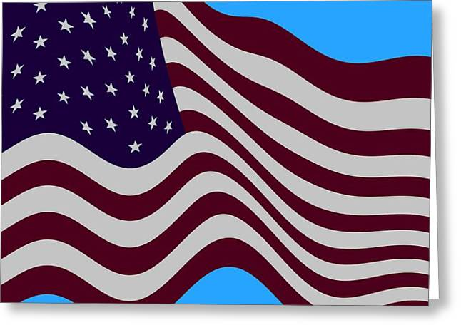Abstract Burgundy Grey Violet 50 Star American Flag Flying Cropped Greeting Card by L Brown