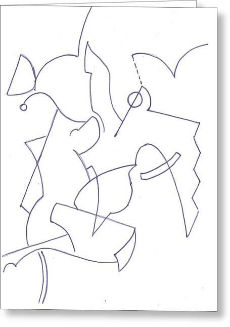 Geometric Artwork Drawings Greeting Cards - Abstract 11 Greeting Card by Amy Lee