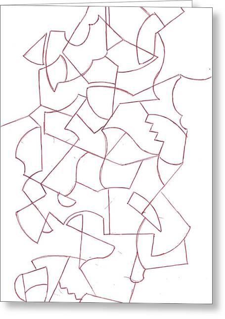 Geometric Artwork Drawings Greeting Cards - Abstract 12 Greeting Card by Amy Lee