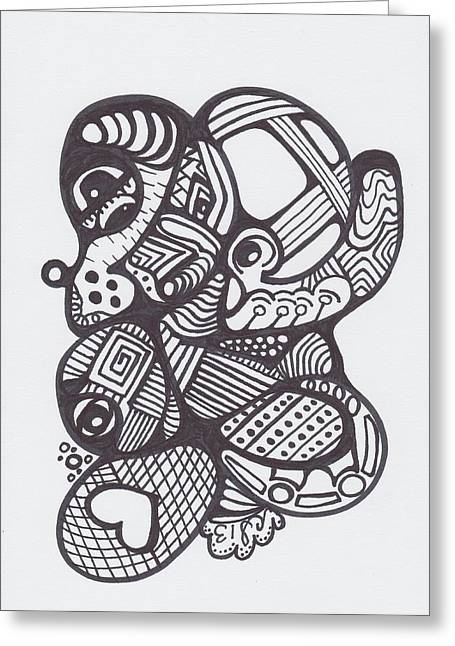 Harts Drawings Greeting Cards - Abstract 20 Greeting Card by Carrie Stewart