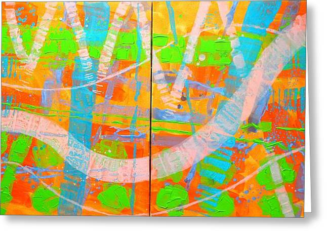 Joyce Greeting Cards - Abstract  23614 Diptych I and II Greeting Card by John  Nolan