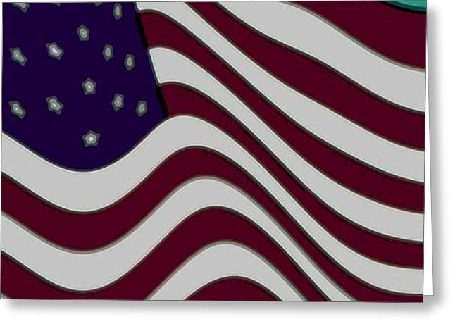 Color Enhanced Mixed Media Greeting Cards - Abstract 50 Star American Flag Flying Enhanced cropped x 2 Greeting Card by L Brown