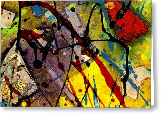 Monoprint Greeting Cards - Abstract 53 Greeting Card by John  Nolan
