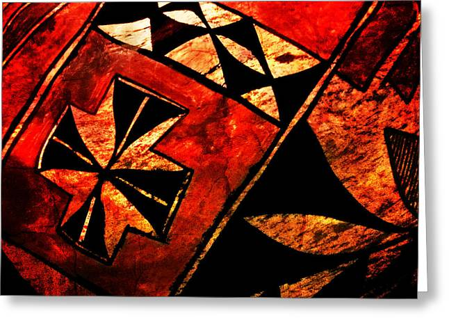 Native American Olla Greeting Cards - Abstract 68A Greeting Card by Timothy Bulone