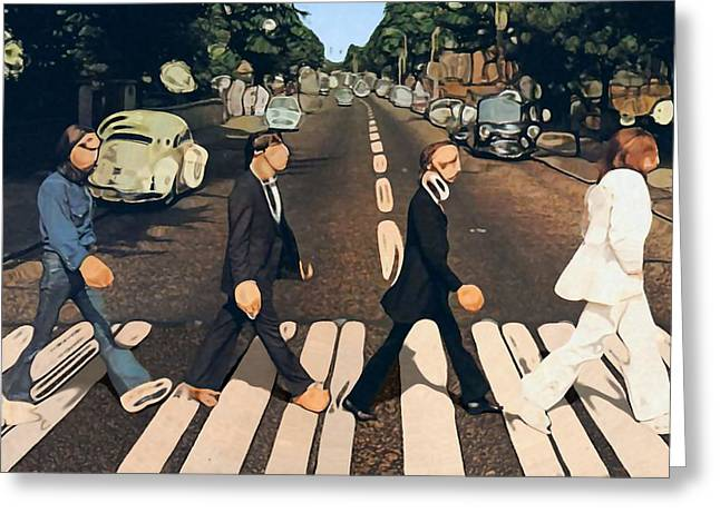 Ringo Starr Greeting Cards - Abstract Abbey Road The Beatles Greeting Card by Dan Sproul