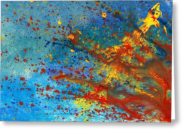 Bloodshed Greeting Cards - Abstract - Acrylic - Just another Monday Greeting Card by Mike Savad