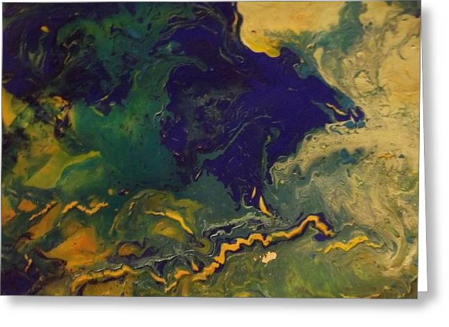 Acrylic Pour Greeting Cards - Abstract Acrylic Pour Greeting Card by Sonya Wilson