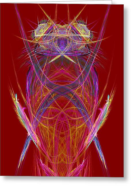 Computer Graphics Greeting Cards - Abstract Alien Face On Red Background Greeting Card by Keith Webber Jr