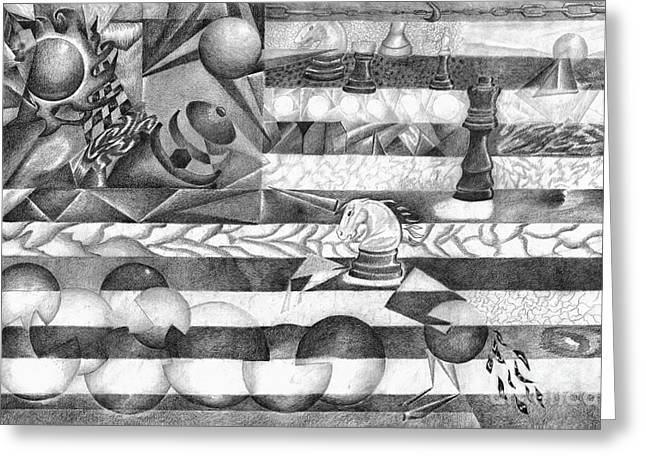 Chess Piece Drawings Greeting Cards - Abstract American Flag Greeting Card by J M Lister