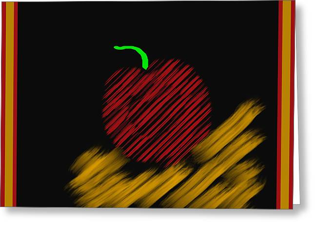 Computer Design Greeting Cards - Abstract Apple Border Greeting Card by Barbara Snyder