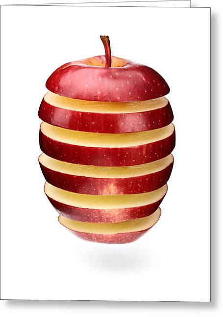 Slices Greeting Cards - Abstract apple slices Greeting Card by Johan Swanepoel