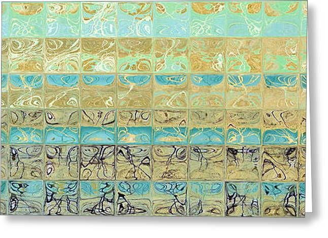 Geometric Art Greeting Cards - Abstract Aqua Beach Tiles Panoramic Painting Greeting Card by Mark Lawrence