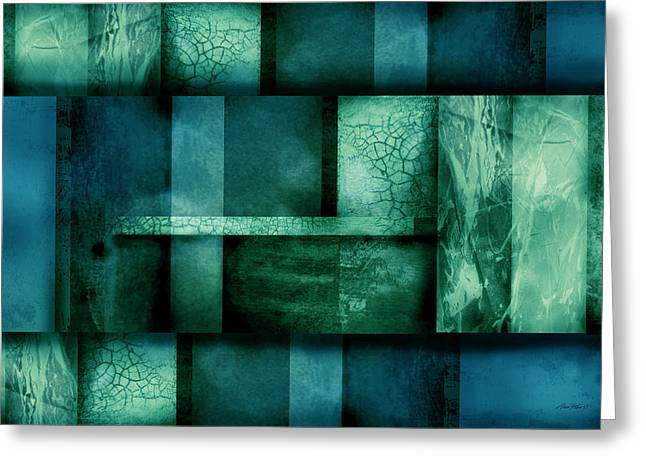 abstract art Blue Dream Greeting Card by Ann Powell