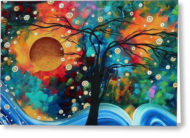 Abstract Art Bold Colorful Landscape Painting Halo Of Fire By Madart Greeting Card by Megan Duncanson