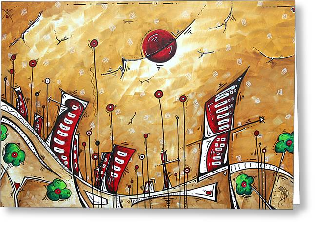 Abstract Art Cityscape Original Painting The Garden City By Madart Greeting Card by Megan Duncanson