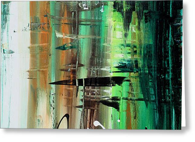 Abstract Art Colorful Original Painting GREEN VALLEY by MADART Greeting Card by Megan Duncanson