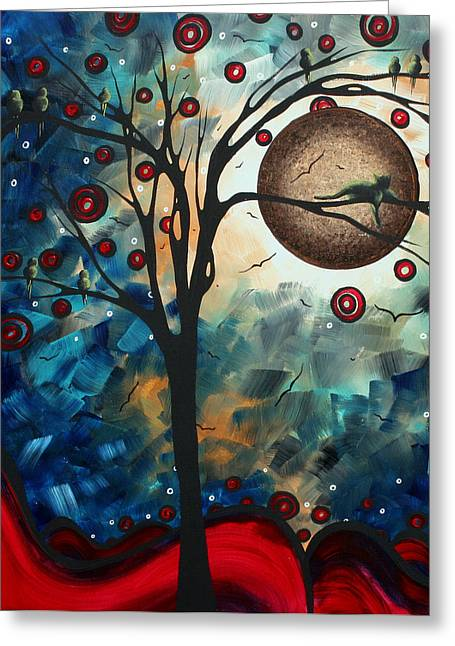 Abstract Cat Greeting Cards - Abstract Art Contemporary Cat Bird Circle of Life Collection CAT PERCH by MADART Greeting Card by Megan Duncanson