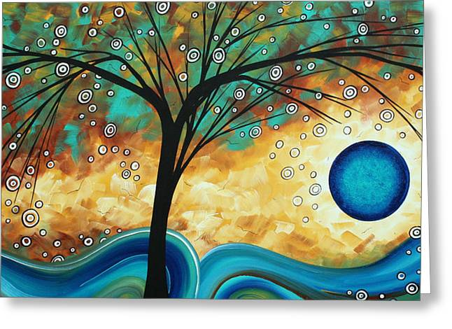 Huge Art Greeting Cards - Abstract Art Contemporary Painting SUMMER BLOOMS by MADART Greeting Card by Megan Duncanson