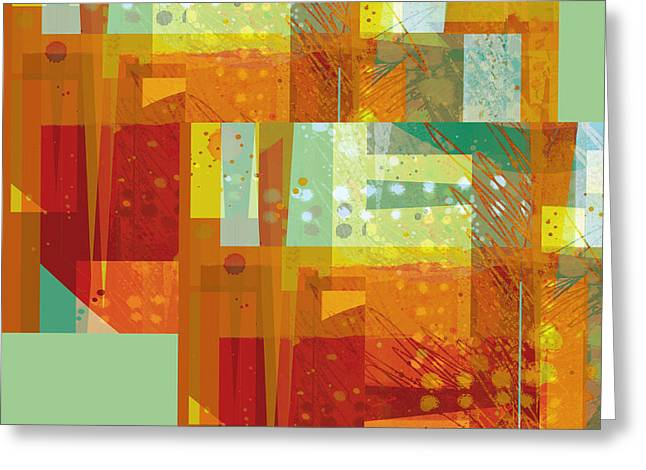 abstract - art- Intersect Orange   Greeting Card by Ann Powell