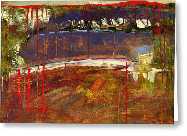 Abstract Art Landscape Greeting Card by Blenda Studio
