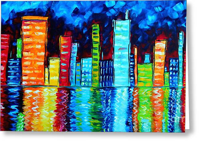 Skyline Paintings Greeting Cards - Abstract Art Landscape City Cityscape Textured Painting CITY NIGHTS II by MADART Greeting Card by Megan Duncanson