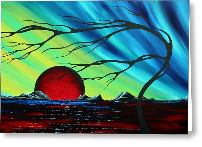 Dark Blue Green Greeting Cards - Abstract Art Landscape Seascape Bold Colorful Artwork SERENITY by MADART Greeting Card by Megan Duncanson