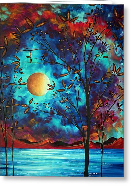 Plum Blossoms Greeting Cards - Abstract Art Landscape Tree Blossoms Sea Moon Painting VISIONARY DELIGHT by MADART Greeting Card by Megan Duncanson