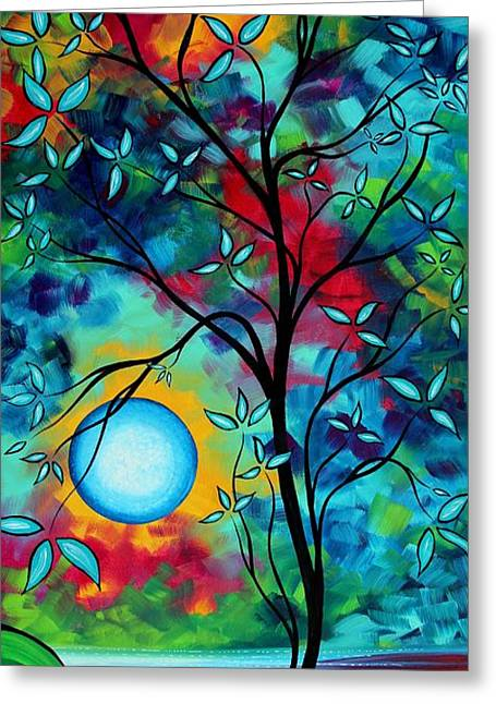 Dark Blue Green Greeting Cards - Abstract Art Landscape Tree Blossoms Sea Painting UNDER THE LIGHT OF THE MOON I  by MADART Greeting Card by Megan Duncanson