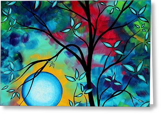 Abstract Art Landscape Tree Blossoms Sea Painting UNDER THE LIGHT OF THE MOON I  by MADART Greeting Card by Megan Duncanson