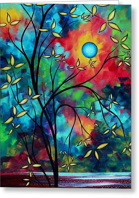 Dark Blue Green Greeting Cards - Abstract Art Landscape Tree Blossoms Sea Painting UNDER THE LIGHT OF THE MOON II by MADART Greeting Card by Megan Duncanson