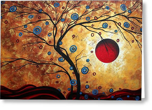 Crimson Greeting Cards - Abstract Art Landscape Tree Metallic Gold Texture Painting FREE AS THE WIND by MADART Greeting Card by Megan Duncanson