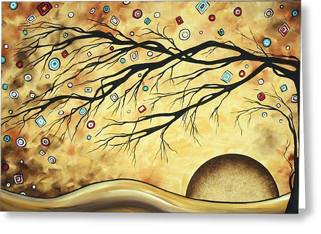 Abstract Art Metallic Gold Original Landscape Painting Colorful DIAMOND JUBILEE by MADART Greeting Card by Megan Duncanson